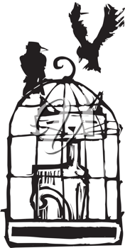 Royalty Free Clipart Image of a Cat in a Birdcage