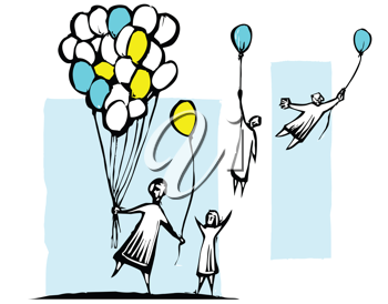 Royalty Free Clipart Image of People Holding onto Balloons Flying