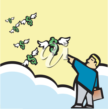 Royalty Free Clipart Image of a Man Pointing at Dollar Signs