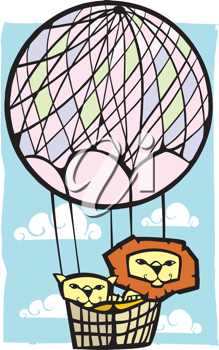 Royalty Free Clipart Image of Two Lions in a Hot Air Balloon