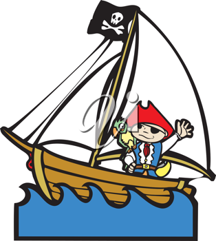 Royalty Free Clipart Image of a Pirate in a Ship