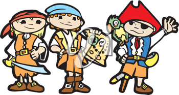 Royalty Free Clipart Image of Children in Pirate Costumes