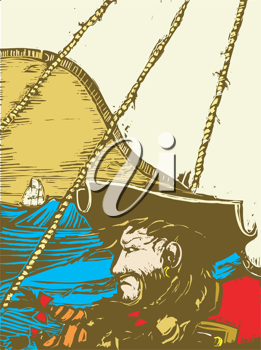 Royalty Free Clipart Image of Blackbeard on His Ship