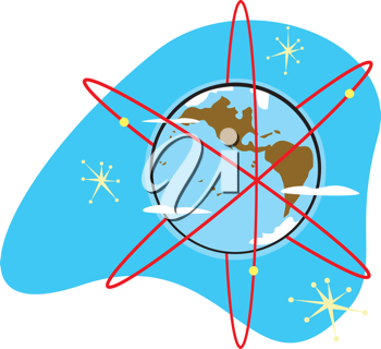 Royalty Free Clipart Image of a Styled Radioactive Earth With Satellites