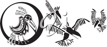 Royalty Free Clipart Image of Mythical Ravens