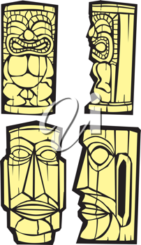 Royalty Free Clipart Image of Tiki Heads