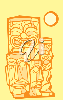 Royalty Free Clipart Image of a Group of Tiki Heads