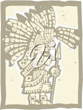 Royalty Free Clipart Image of a Teotihuacan Warrior
