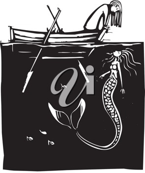 Royalty Free Clipart Image of a Girl in a Rowboat Looking at a Mermaid