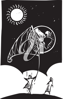 Woodcut style image of a person catching the earth in a net.