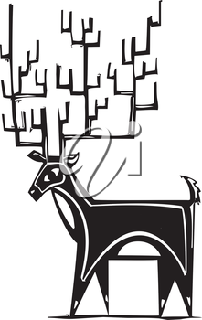 Royalty Free Clipart Image of a Reindeer With Big Antlers