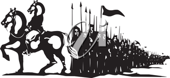 Woodcut style expressionist image of a horse headed general leading an army.