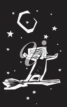 Woodcut style expressionistic witch on a broom in the night sky