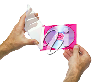 Royalty Free Photo of a Person Holding a DVD