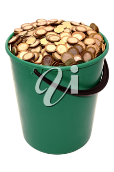 Royalty Free Photo of a Bucket of Coins