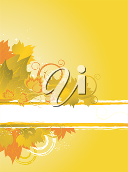 Autumn background with floral frame and leafs