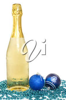 Royalty Free Photo of a Bottle of Champagne and Christmas Decorations