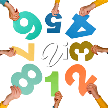 Royalty Free Photo of People Holding Numbers