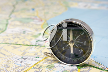 Royalty Free Photo of a Compass on a Map