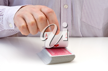Royalty Free Photo of a Man Holding Playing Cards