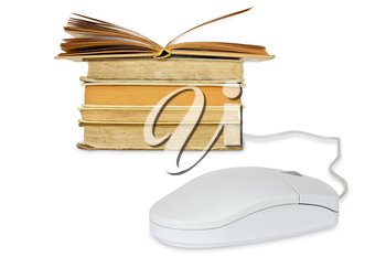 E-learning concept. Computer mouse and books on a white background.