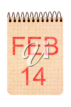 14 February calendar on recycle paper. Isolated on white background