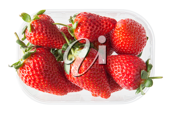 Box with strawberries isolated on white background. Top view.