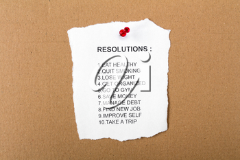 List of resolutions for new year or in general pinned to a notice board