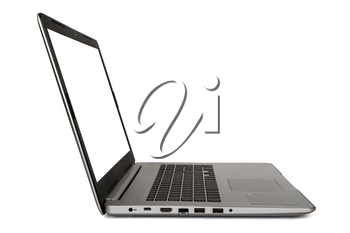 Laptop with empty screen isolated on white background. Side view.