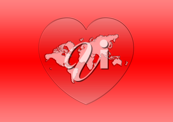 Royalty Free Clipart Image of a Red Background With a Map in a Heart