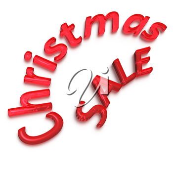 Glossy three-dimensional inscription Cristmas Sale as a sign.