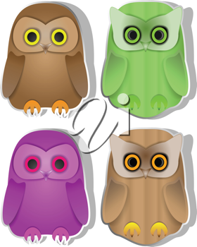 Royalty Free Clipart Image of Owls