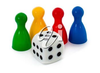 Board game figures and one dice