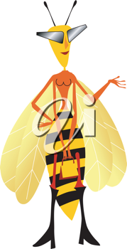 Royalty Free Clipart Image of a Female Wasp