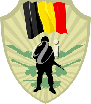 Royalty Free Clipart Image of a Crest with a Belgium Flag and Soldier