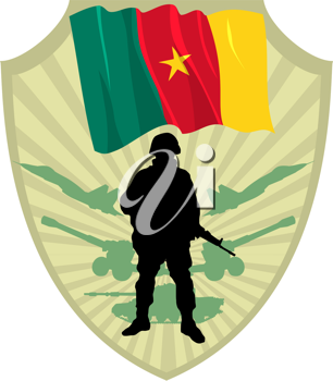 Royalty Free Clipart Image of a Cartoon Crest of a Cameroon Flag and a Soldier