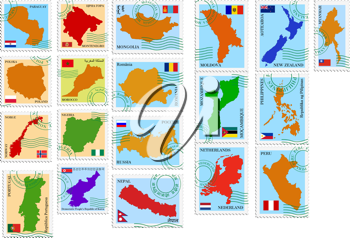 Royalty Free Clipart Image of a Set of Various Country Stamps