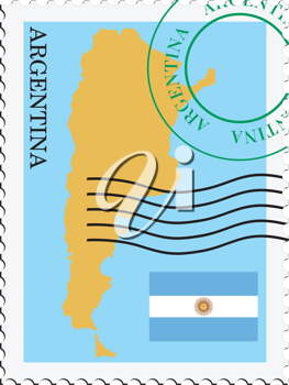 Image of stamp with map and flag of Argentina