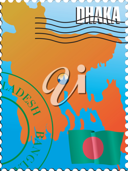 Vector stamp with an image of map of Bangladesh