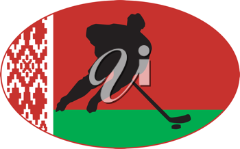hockey player on background of flag of Belarus