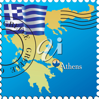 Vector stamp with an image of map of Greece