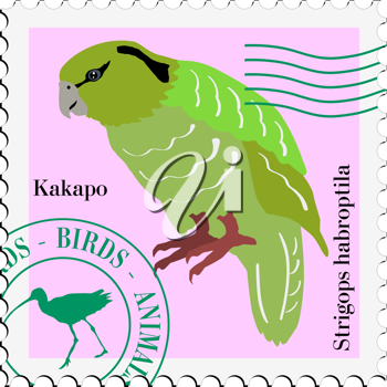 illustration postage stamp with image of parrot