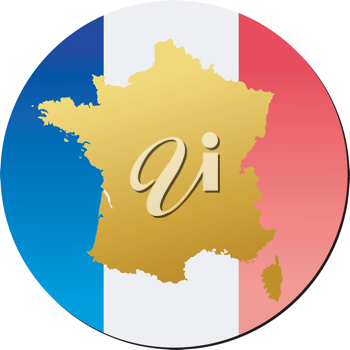 An illustration with button in national colours of France
