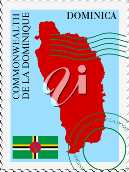 Image of stamp with map and flag of Dominica