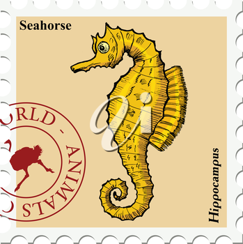 vector, post stamp with fish