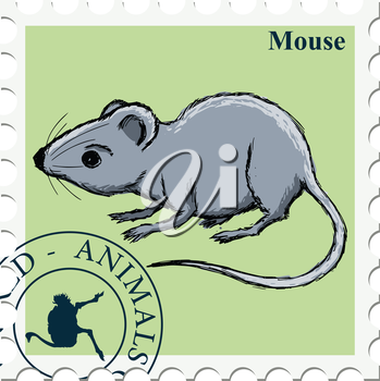 vector, post stamp with mouse