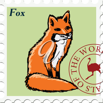 vector, post stamp with fox