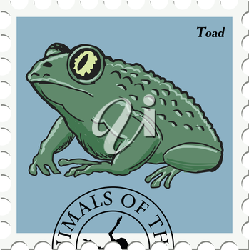 vector, post stamp with toad