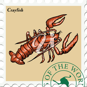 vector, post stamp with crayfish