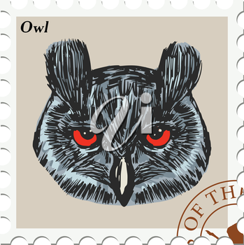 vector, post stamp with owl